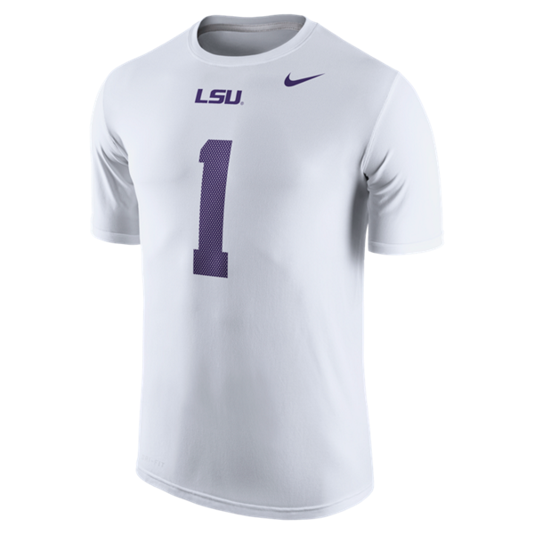 Nike LSU Men's #1 Jersey Tee - White