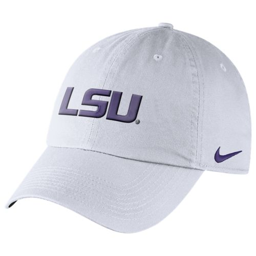 d0646e1f0c647c Nike LSU Tigers Relaxed Dri-FIT Adjustable Heritage86 Auth Cap - White -  PURPLE AND GOLD SPORTS