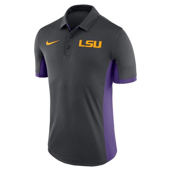 LSU Men's Evergreen Dri-Fit Polo - Anthracite