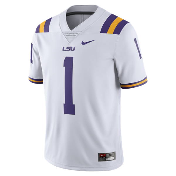 best service c2cb9 5c732 Nike LSU Men's #1 Limited Football Jersey - White