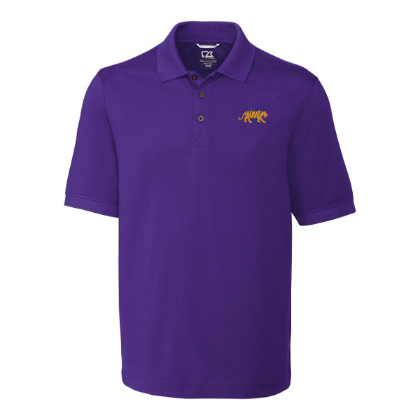 789061f96 LSU Tigers Men's Cutter & Buck Advant DryTec Polo - PurpleLSU Silohouette Tiger  logo embroidered on left chestRib knit collarThree Cutter & Buck buttoned  ...