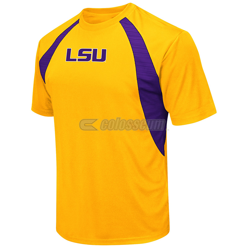 Colosseum Men's LSU Tigers The Vault Cut & Sew Polyester Short Sleeve Tee - Purple and Gold