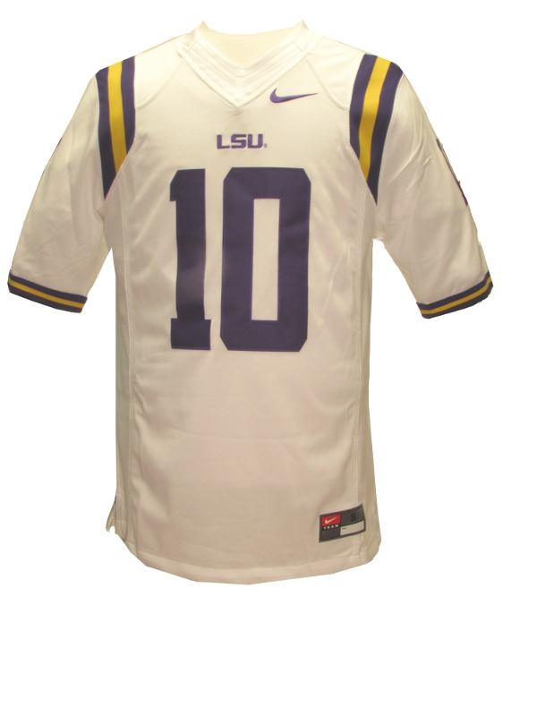Nike LSU Tigers Men's White #10 Limited Football Jersey