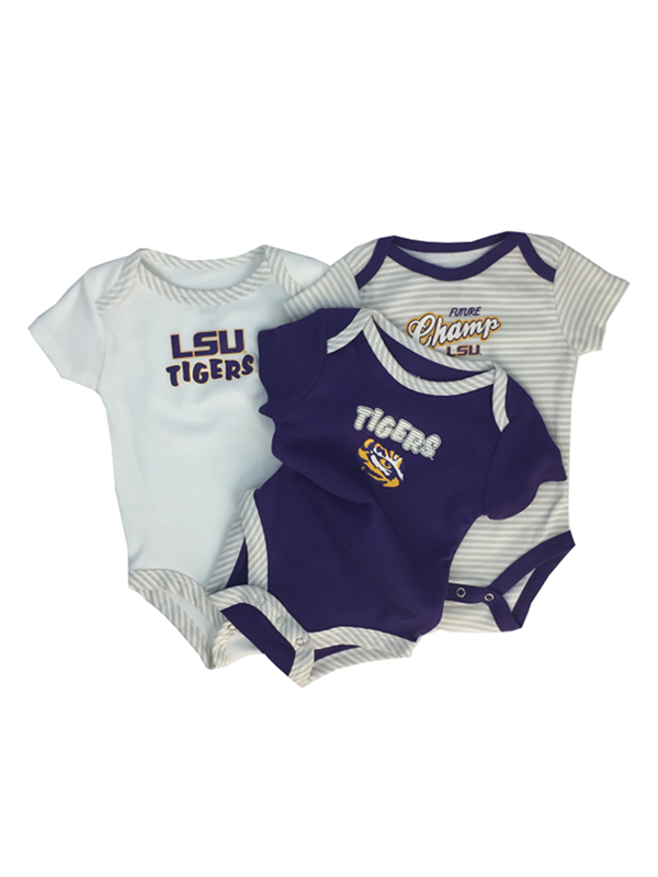 LSU Infant 3-Piece Onesie Set - Purple, White & Striped
