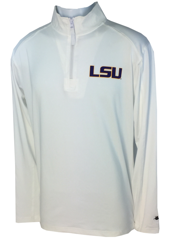 faa8ea982d LSU Men's 1/4 Zip Llightweight Performance Pullover - White - PURPLE AND GOLD  SPORTS