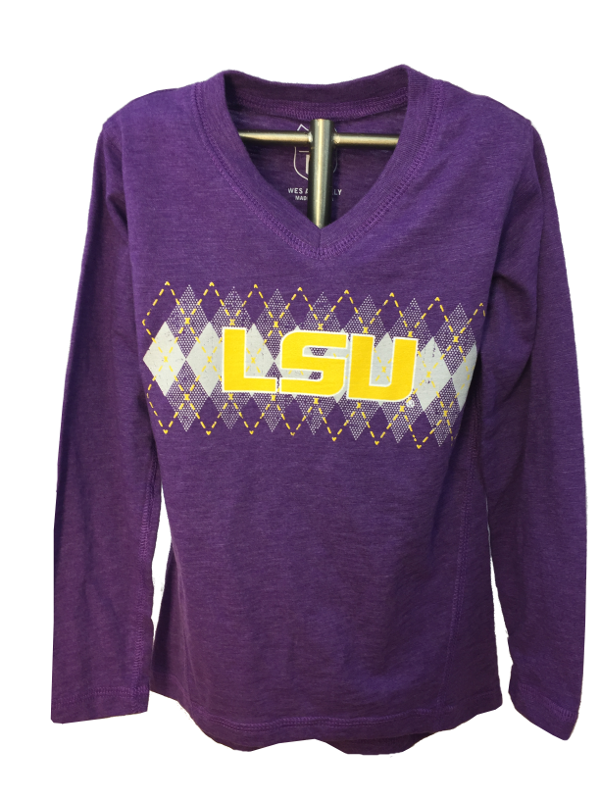 LSU Girl's Long Sleeve Blend Slub Argyle Tunic - Purple