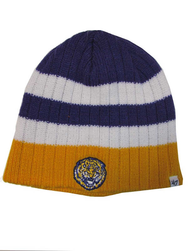 LSU Tigers Woodson Vintage Helmet Tiger Striped Acrylic Knit Cap - Purple, Gold & White