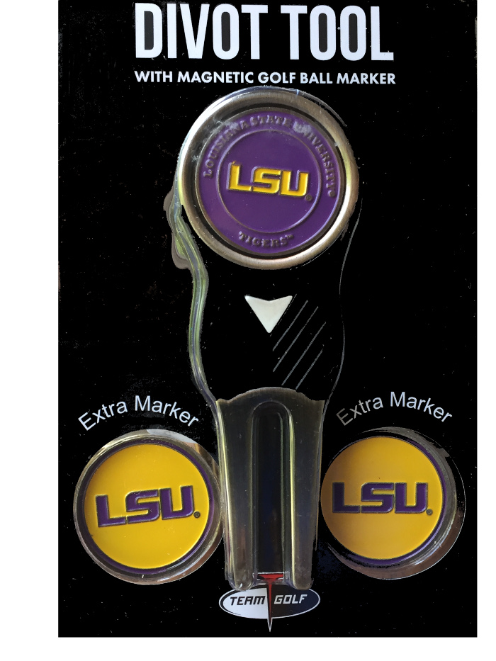 LSU NCAA Divot Tool with Magnetic Golf Ball Markers