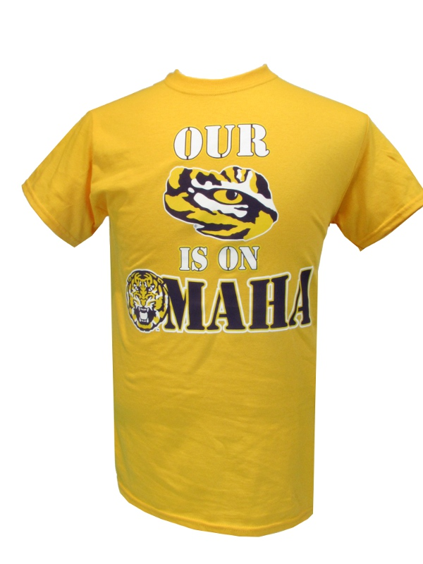 LSU Tigers Our Eye is on Omaha Baseball T-Shirt - Gold