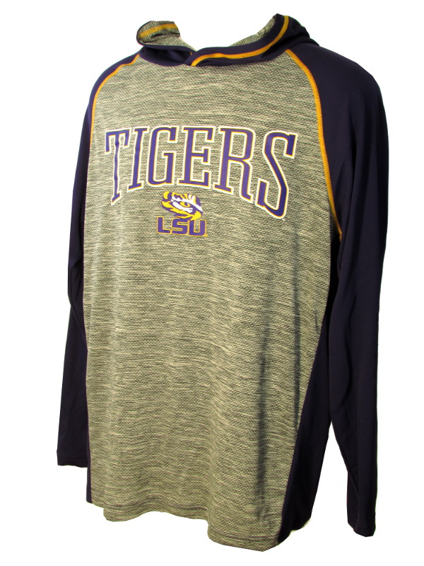 LSU Men's Polyester Pullover Hoodie Jacket - Purple and Grey