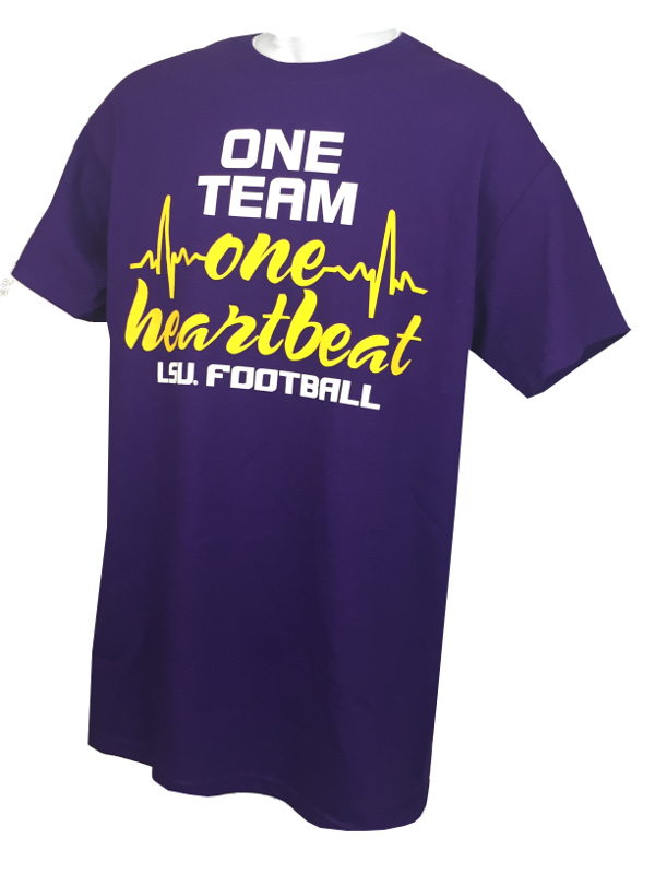 LSU Tigers Bayou Apparel Adult One Team One Heartbeat Football T-Shirt - Purple