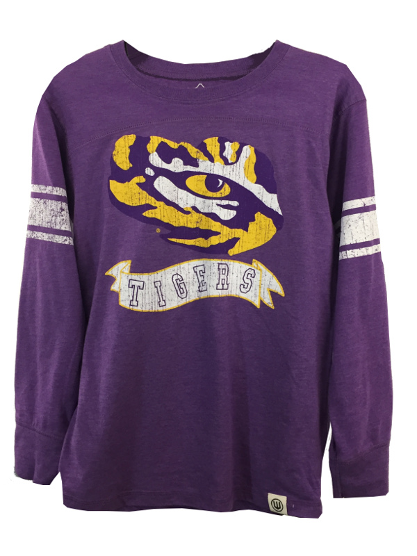cheap for discount d22f5 6b7ee LSU Tigers Child and Youth Blend Long Sleeve Jersey Top - Purple