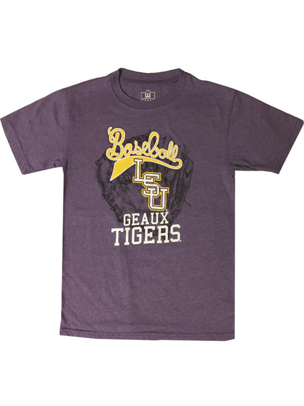 LSU Tigers Youth and Child Short Sleeve Baseball Glove T-Shirt - Purple