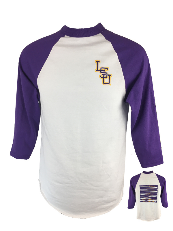 LSU Tigers Bayou Men's Take Me Out To The Ball Game Baseball Tee - Purple and White