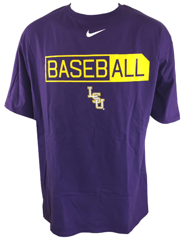Nike LSU Tigers Men's 3X Short Sleeve Cotton Core Baseball Tee - Purple