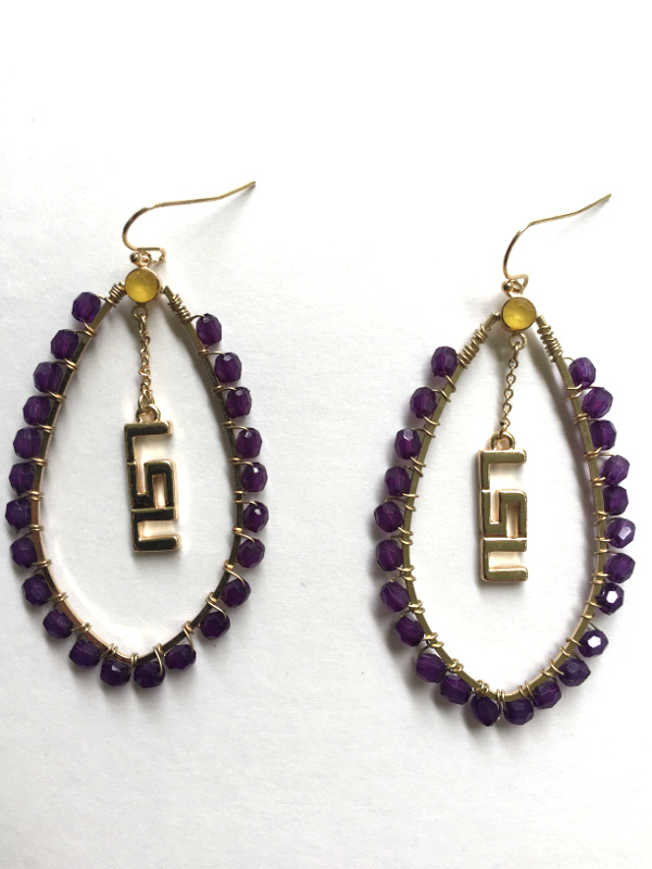 Lsu Tigers Multi Stone Drop Earrings Purple Gold