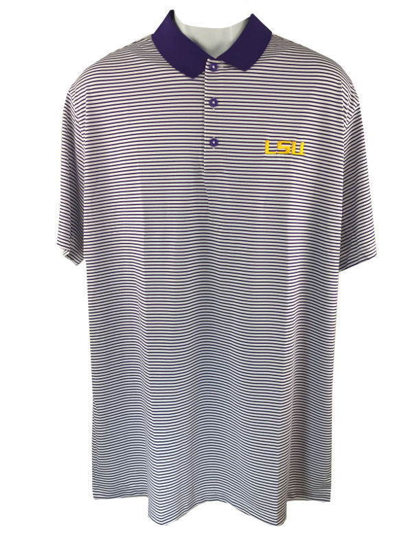 Nike Gold Lsu Tigers Men S Striped Standard Fit Dri Fit Polo
