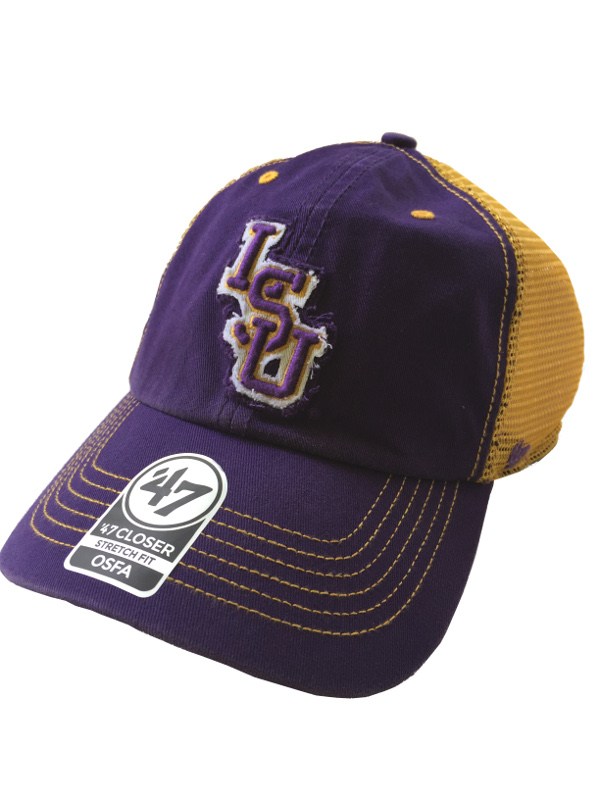 LSU Tigers 47 BrandCloser Stretch Fit One Size Fits Most Vintage Mesh Hat -Purple and Gold