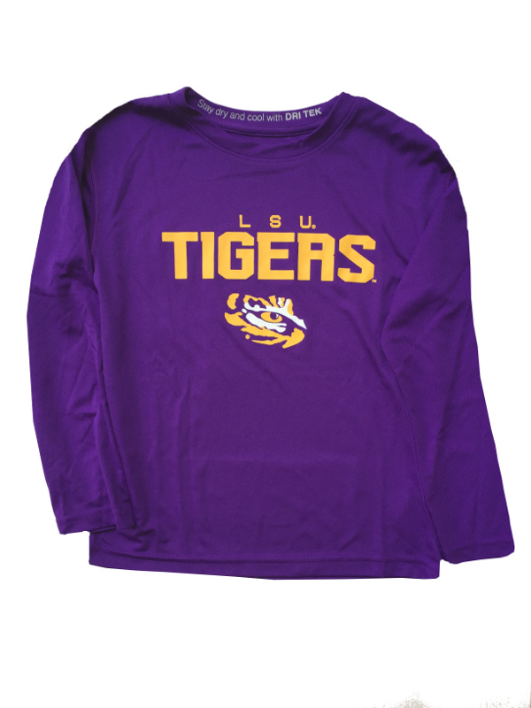 0d1fbfe8f LSU Tigers Boy's Long Sleeve Dri Tek Tee - PurpleLarge screen printed LSU  graphics on frontTagless neck for comfrotReinforced neck and shoulder  seamsDouble ...