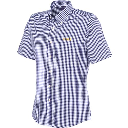 Lsu Tigers Antigua Men 39 S Plaid Scholar Button Up Short