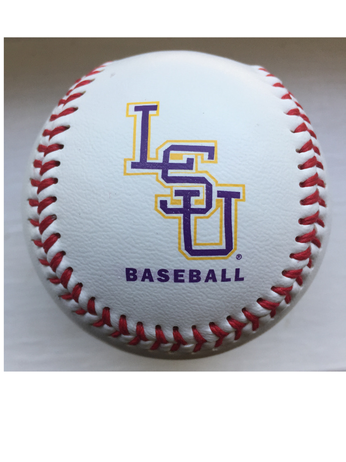 LSU Tigers Baden Team Logo Leather Baseball - White