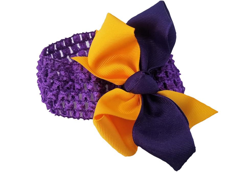 Purple and Gold Infant and Toddler Bow Headband #3