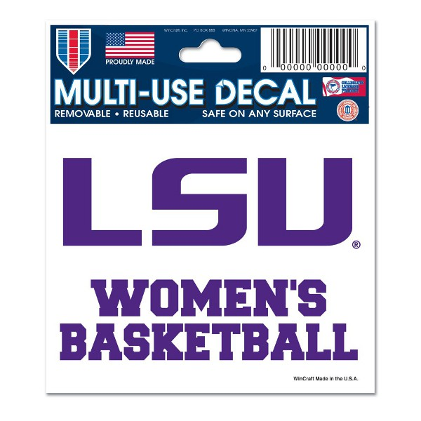 """LSU Tigers Multi-Use Women's Basketball 3""""x4"""" Decal - Purple and White"""