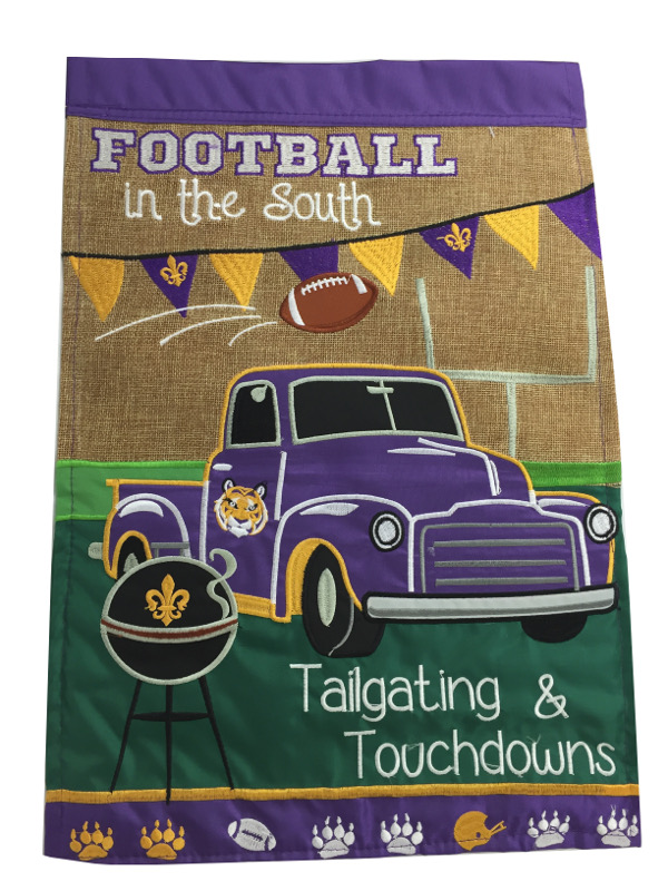 """LSU Tigers Double Sided Football in the South Decorative Flag 13"""" x 18"""" - Burlap"""