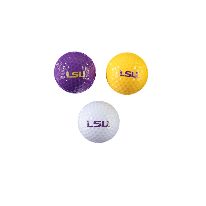 LSU Tigers 3-Pack Golf Balls - Gold, White & Purple
