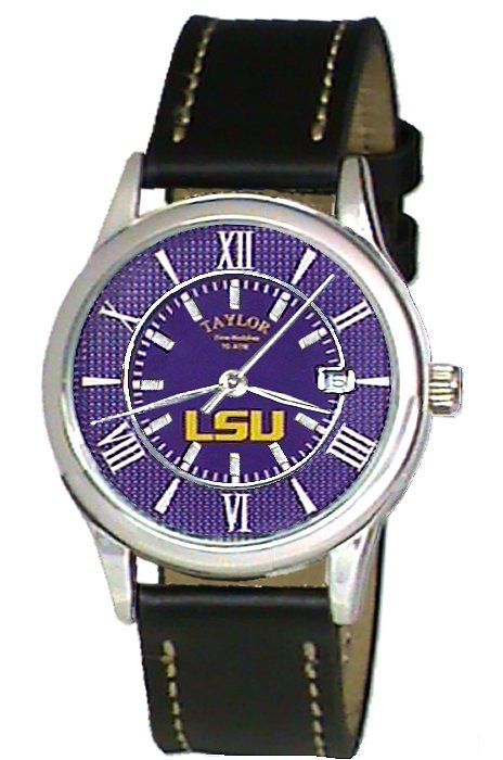 LSU Black Leather Sport Watch Custom Made by Taylor Watches