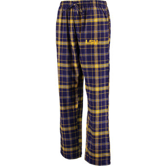 LSU Tigers Men's Plaid Flannel Pajama Pants - Purple & Gold
