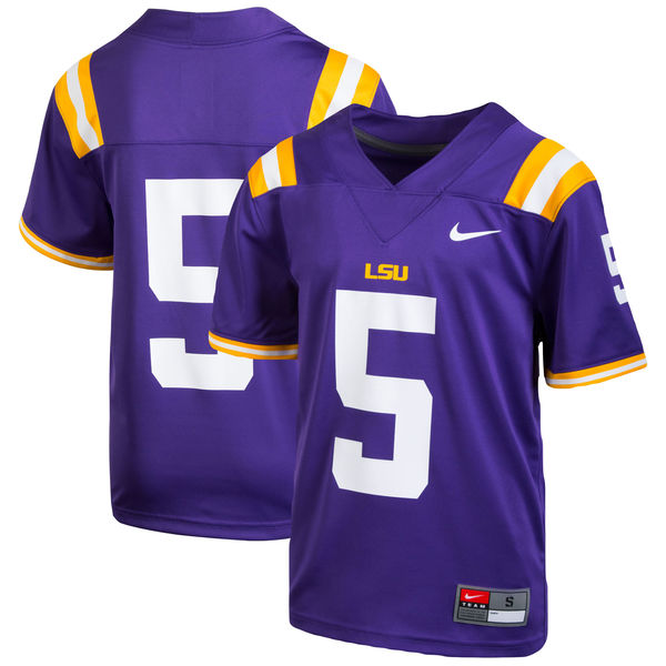 reputable site ee40f 993eb Nike LSU Boy's #5 Replica Football Jersey - Purple