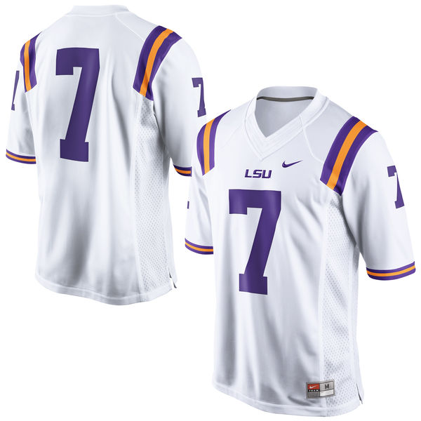 brand new 50c03 8bb07 Nike LSU Tigers Men's #7 Limited Football Jersey - White
