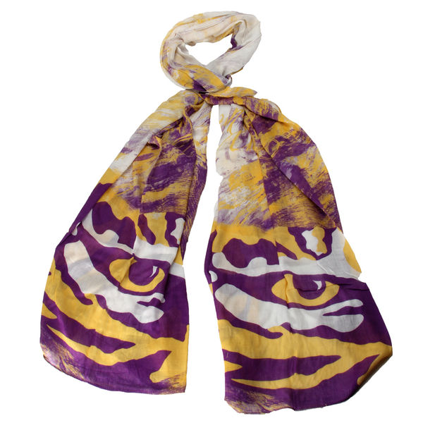 LSU Tigers Watercolor Tiger Eye Scarf - Purple, Gold and White