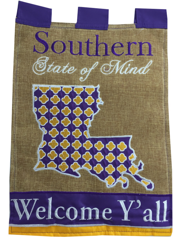 """LSU Tigers Double Sided Southern State of Mind Decorative Flag 13"""" x 18""""  - Burlap"""