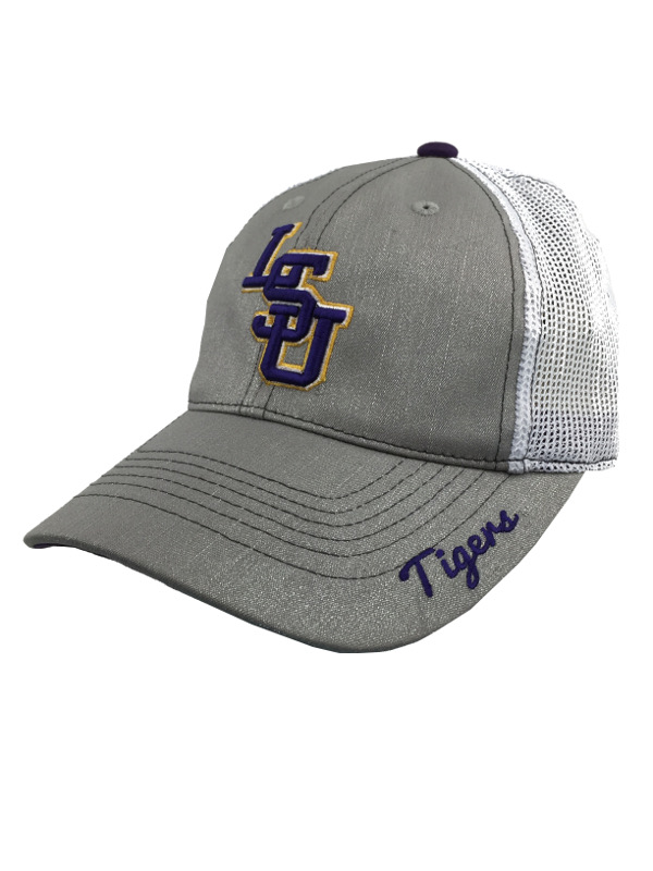 LSU Tigers Women s Glam Silver Trucker Hat - Silver   White - PURPLE AND  GOLD SPORTS 51900b561b