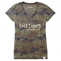 LSU Women's Camo Distressed Top