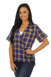 LSU Tigers Women's Plaid Wrap Top - Purple and Gold