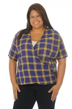 LSU Tigers Plus Size Women's Plaid Wrap Top - Purple and Gold
