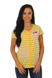 LSU Women's Striped Dolman Sleeve Tee - Gold & White