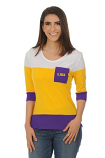 LSU Tigers Women's Color Block Top - Purple, Gold & White