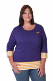 LSU Women's Purple and Gold Color Blocked Striped Top