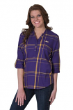 LSU Women's Purple Flannel Plaid 3/4 Sleeve Tunic
