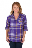 LSU Women's Plaid Flannel Boyfriend Shirt - Purple & Gold