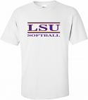 LSU Adult White Classic Softball Bar Design Cotton Tee