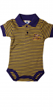 LSU Tigers INFANT Purple and Gold Stripe Polo Onesie