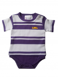 LSU Newborn Striped Rugby T-Shirt Creeper - Purple and White