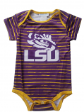 LSU Boy's Infant Striped Onesie - Purple and Gold