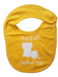 LSU Hey Ya'll I'm New Here Baby Bib - Gold
