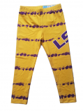 LSU Girl's Tie Dye Leggings - Gold & Purple
